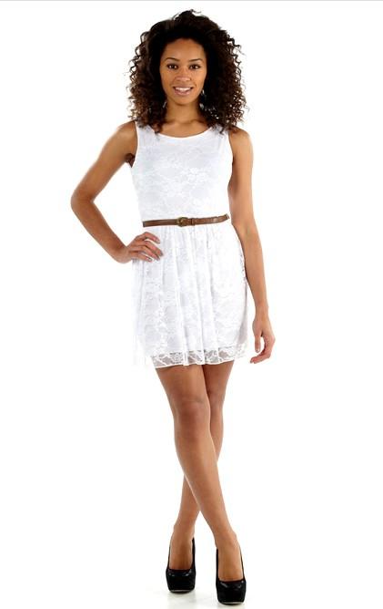 Letní šaty krátké krajkové - bílé  5c5b708c2b9