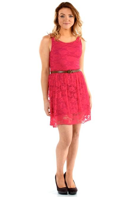 d32f973255cb Letní šaty krátké krajkové - růžové