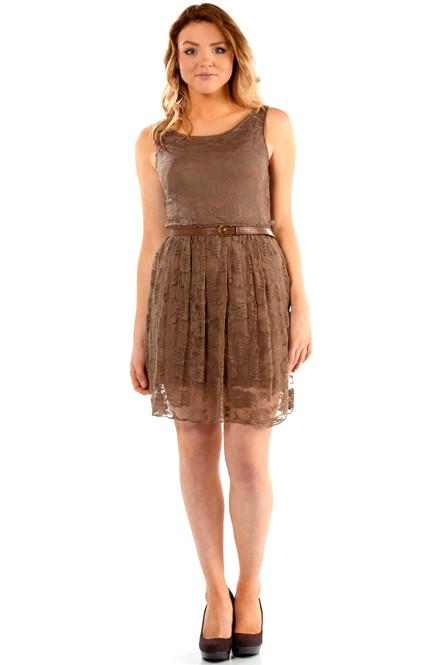 Letní šaty krátké krajkové - hnědé  f70e6e93c2