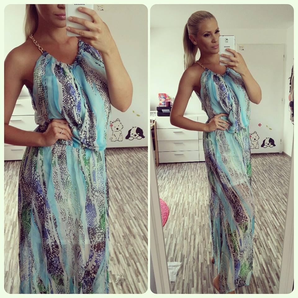 Letní šaty dlouhé - Aqua - více barev  52c53de682