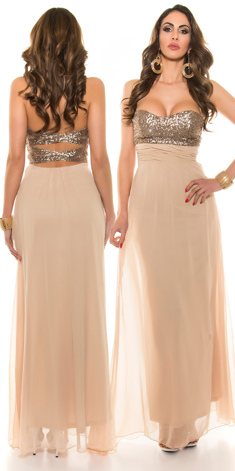 900c5c544016 Plesové šaty - IF 50550 - béžové