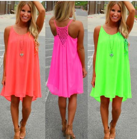 Letní šaty krátké swing - Neon - více barev  a9f484f196
