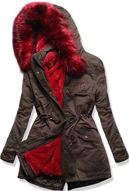 Zimní bunda Khaki - kabát   červený kožíšek  0b7631f805