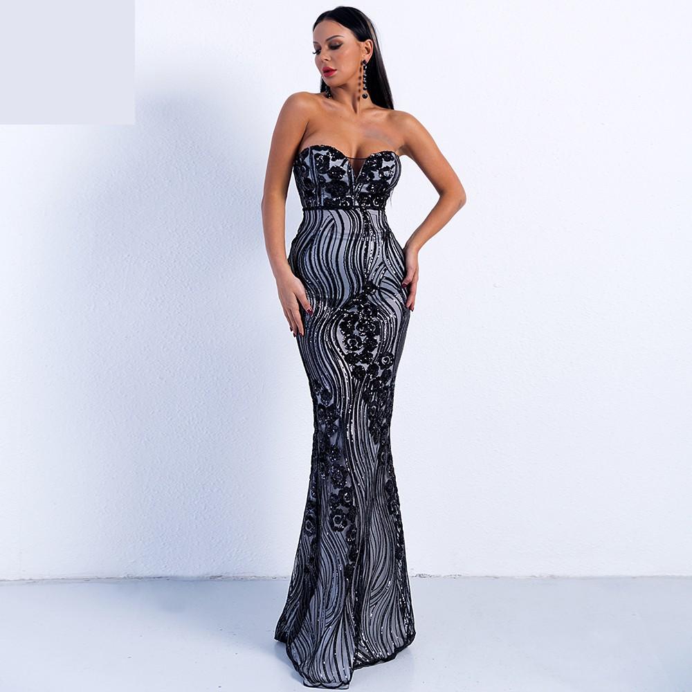 b60002e747d3 Luxusní sexy šaty - Kolekce diamond - černobílé 2
