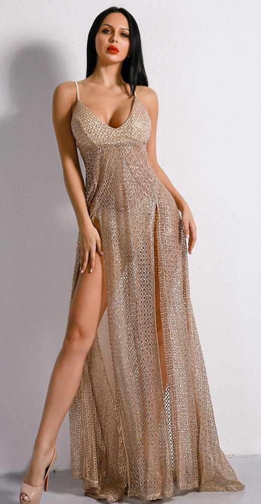 d993f6d1674d Luxusní sexy šaty - Kolekce diamond - béžové 02