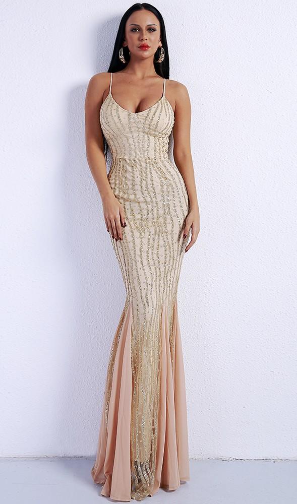 7824874f5d49 Luxusní sexy šaty - Kolekce diamond - béžové 04