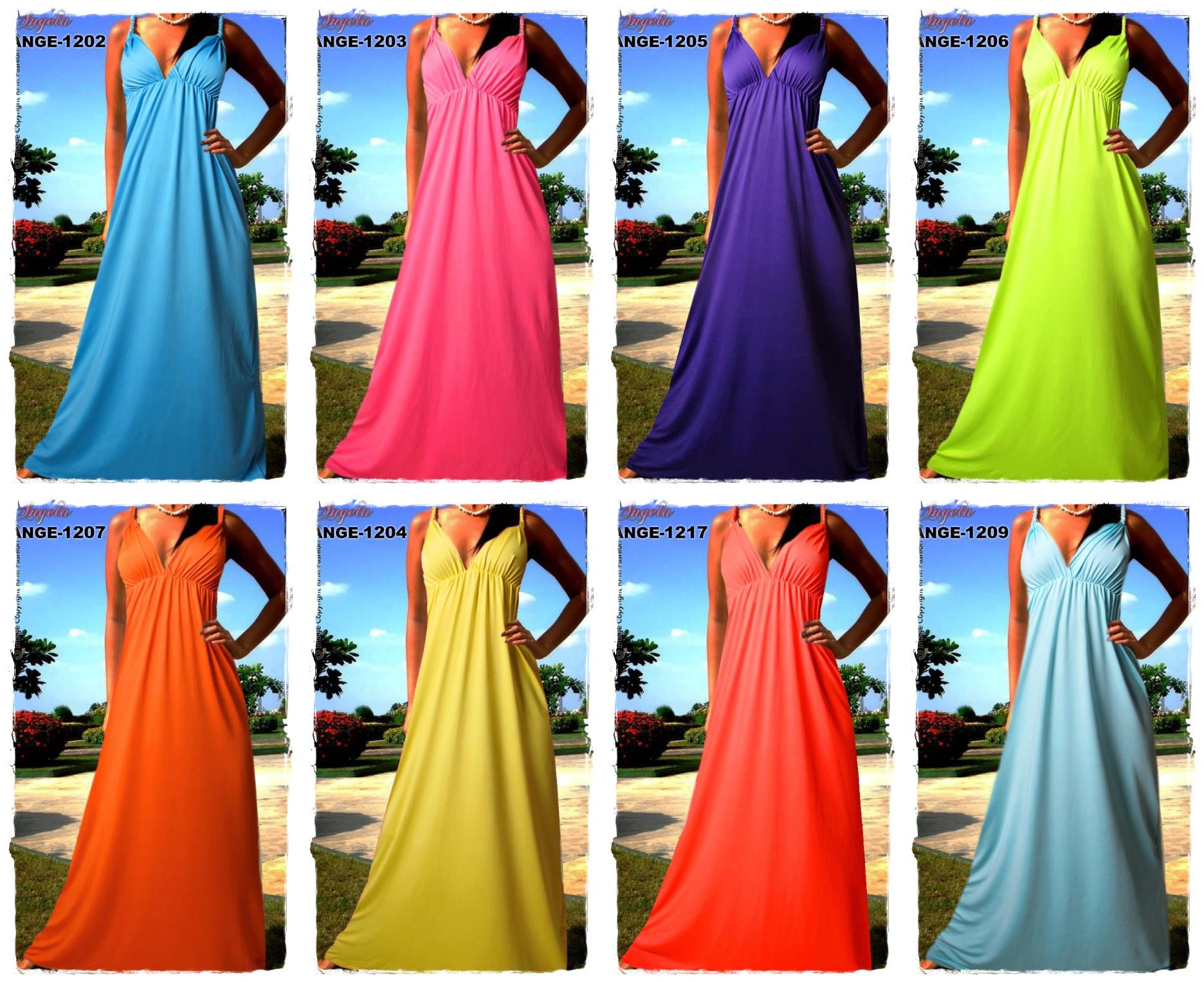 Letní šaty dlouhé - BAREVNÉ  a048d87660