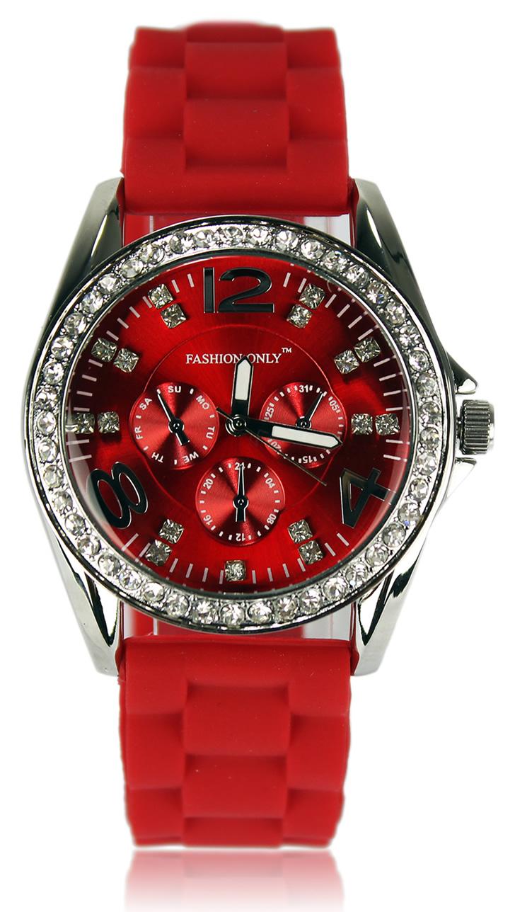 8208af3df Luxusní hodinky s kamínkama - červené | PrincessDress