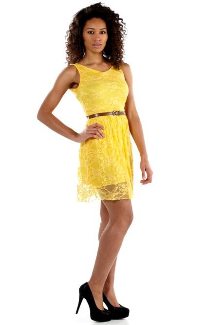 Letní šaty krátké krajkové - žluté  687c89b171