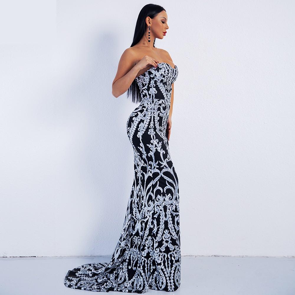 Luxusní sexy šaty - Kolekce diamond - černobílé  eda8ef2279
