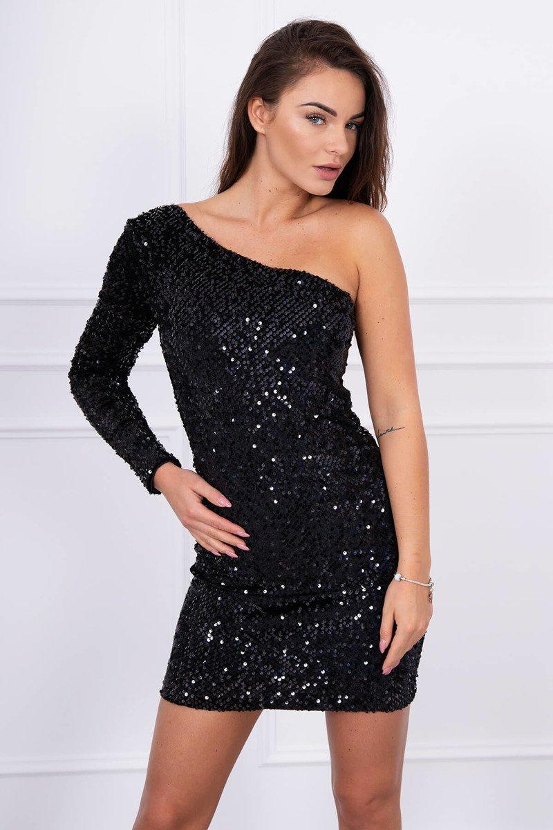 5e1afa0b6833 HK - Třpytivé šaty na jedno rameno - více barev