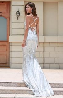 Luxusní stahovací šaty - Kolekce diamond - třpytivé stříbrné s vlečkou 515d0d9975