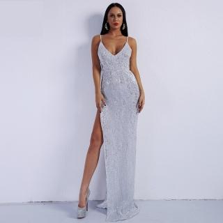 Luxusní sexy šaty - Kolekce diamond - stříbrné 01 aeaa54c2f7