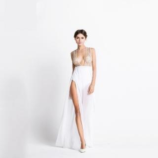 Luxusní sexy šaty - Kolekce diamond - bílé odhalené f5cc6d953b