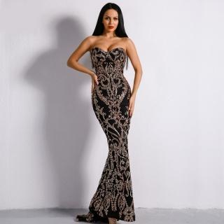 Luxusní sexy šaty - Kolekce diamond - černozlaté a7854968f9