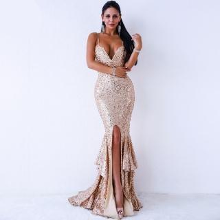 Luxusní sexy šaty - Kolekce diamond - béžové 8300 df1125c5ec