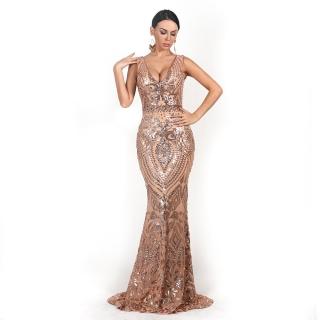 Luxusní sexy šaty - Kolekce diamond - béžové 8726 144987099e